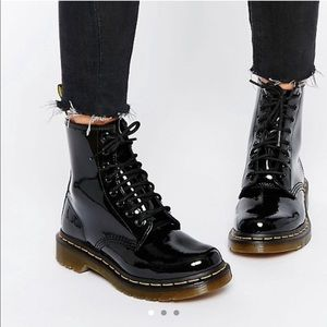 Doc Dr. Martens 1460 black patent 8 eye boots